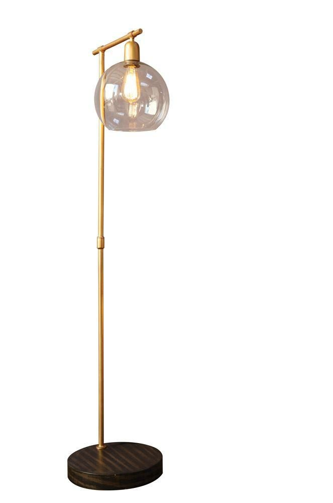 Gold and Wood Industrial Floor Lamp Gold