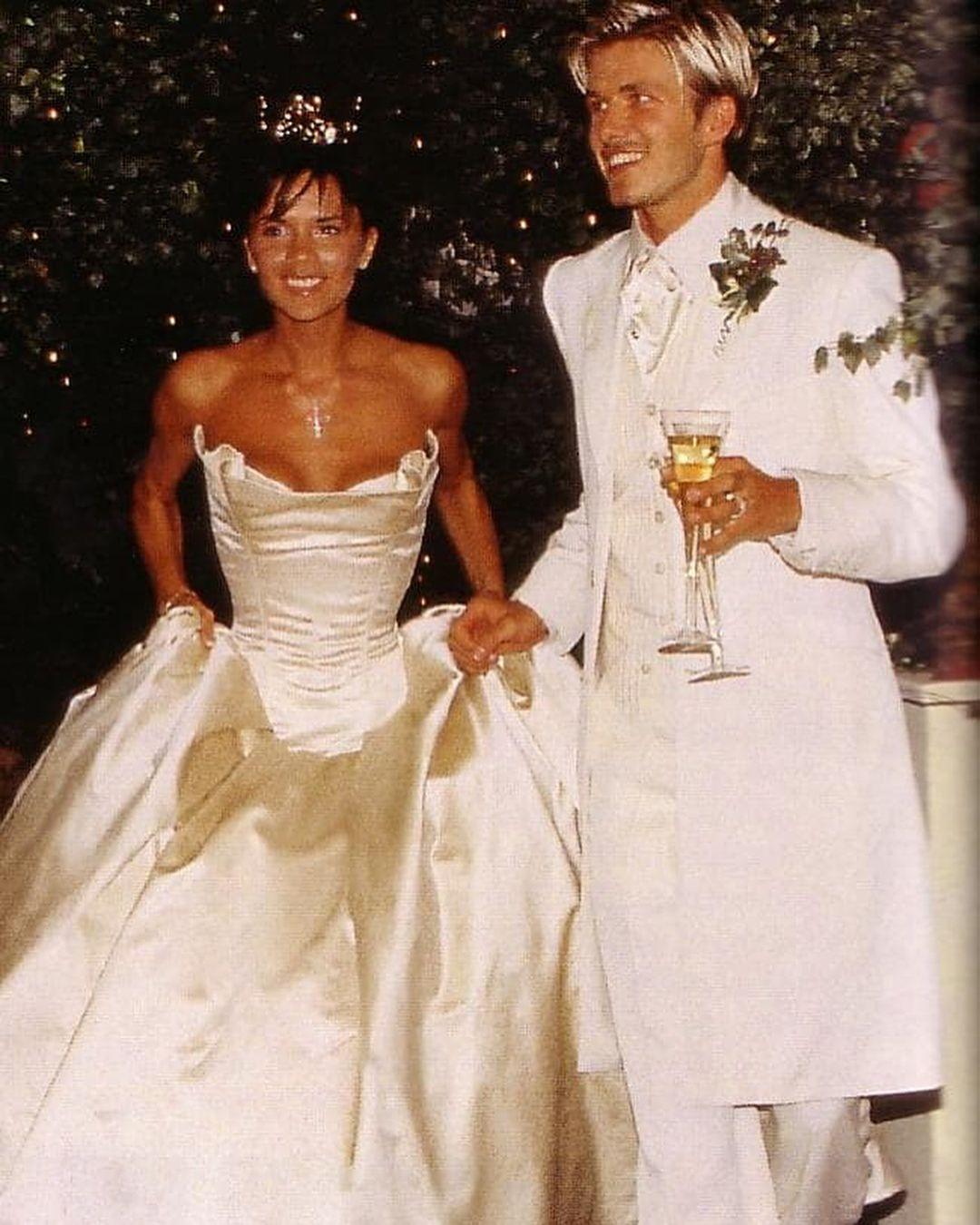 David Beckham And Victoria Beckham On Their Wedding Day