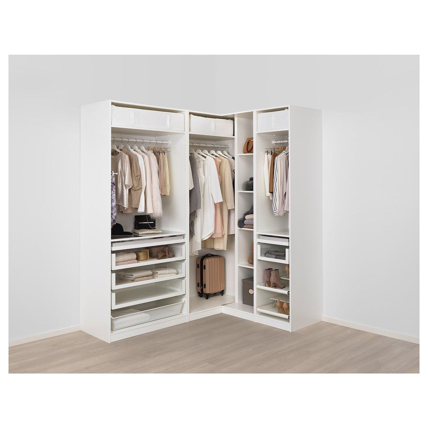 Armoire D Angle Dressing pax corner wardrobe - white, reinsvoll gray-green 82 3/4/63