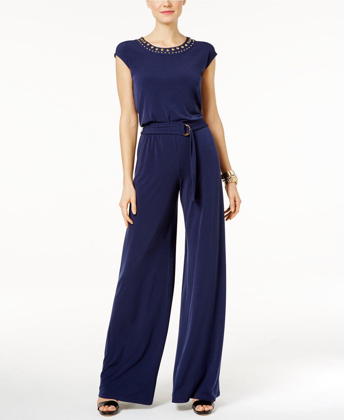 18367aa8b7f2 MICHAEL Michael Kors Petite Embellished Wide-Leg Jumpsuit - Pants   Capris  - Women - Macy s