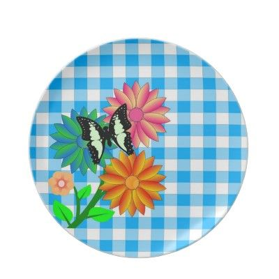 #plates #forhomes #zazzle #elenaindolfi  Flowers and Butterfly Blue Vichy Plate by elenaind