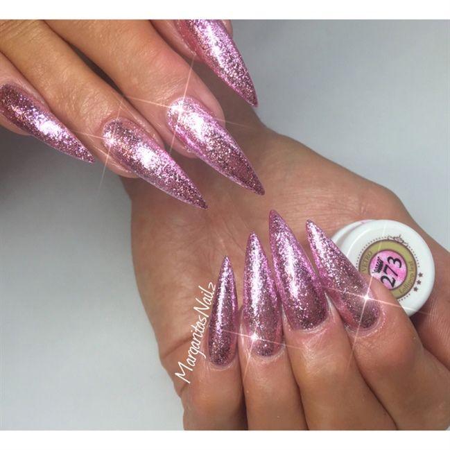 Pink Glitter Stiletto Nails Nail Art Gallery Stiletto Nails