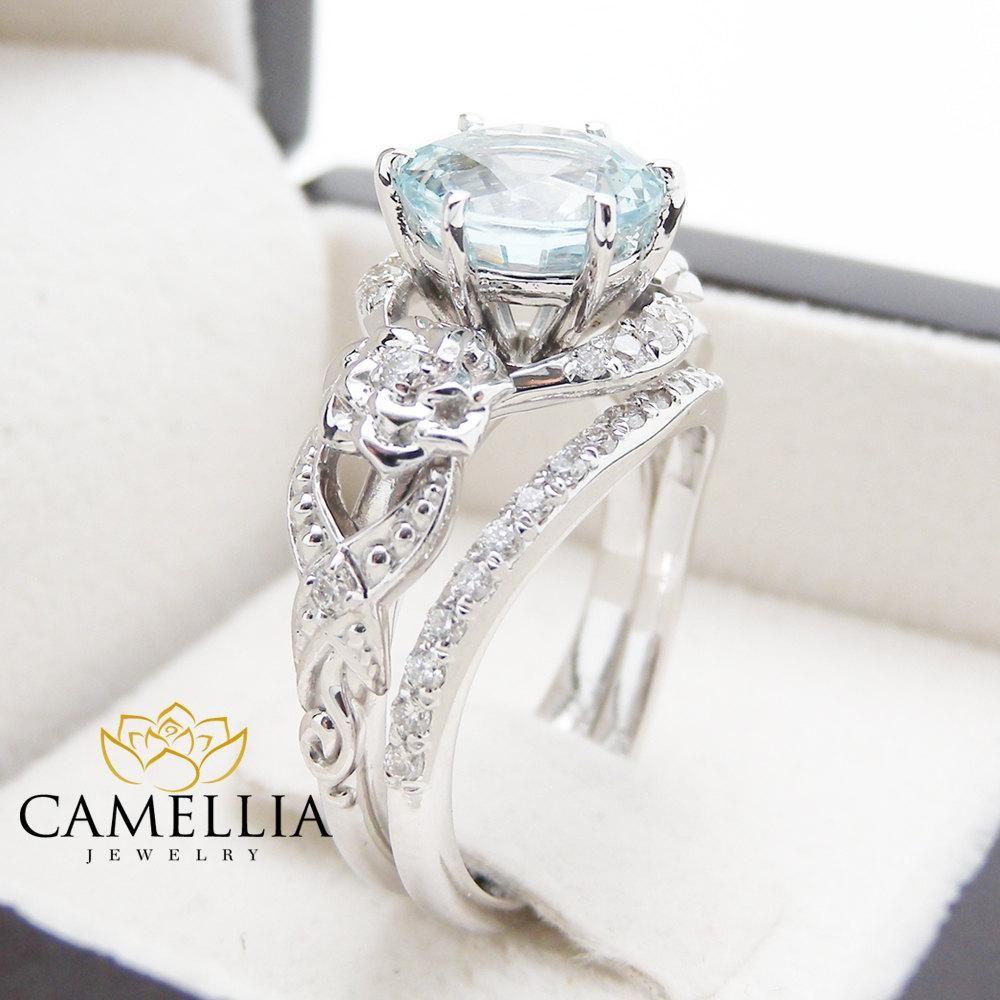 Unique Aquamarine Engagement Ring Set 14k White Gold 2 Carat Aquamarine Rings Art Deco Engagement Ring Floral Ring Set Camellia Jewelry Art Deco Engagement Ring Aquamarine Engagement Ring Floral Engagement Ring