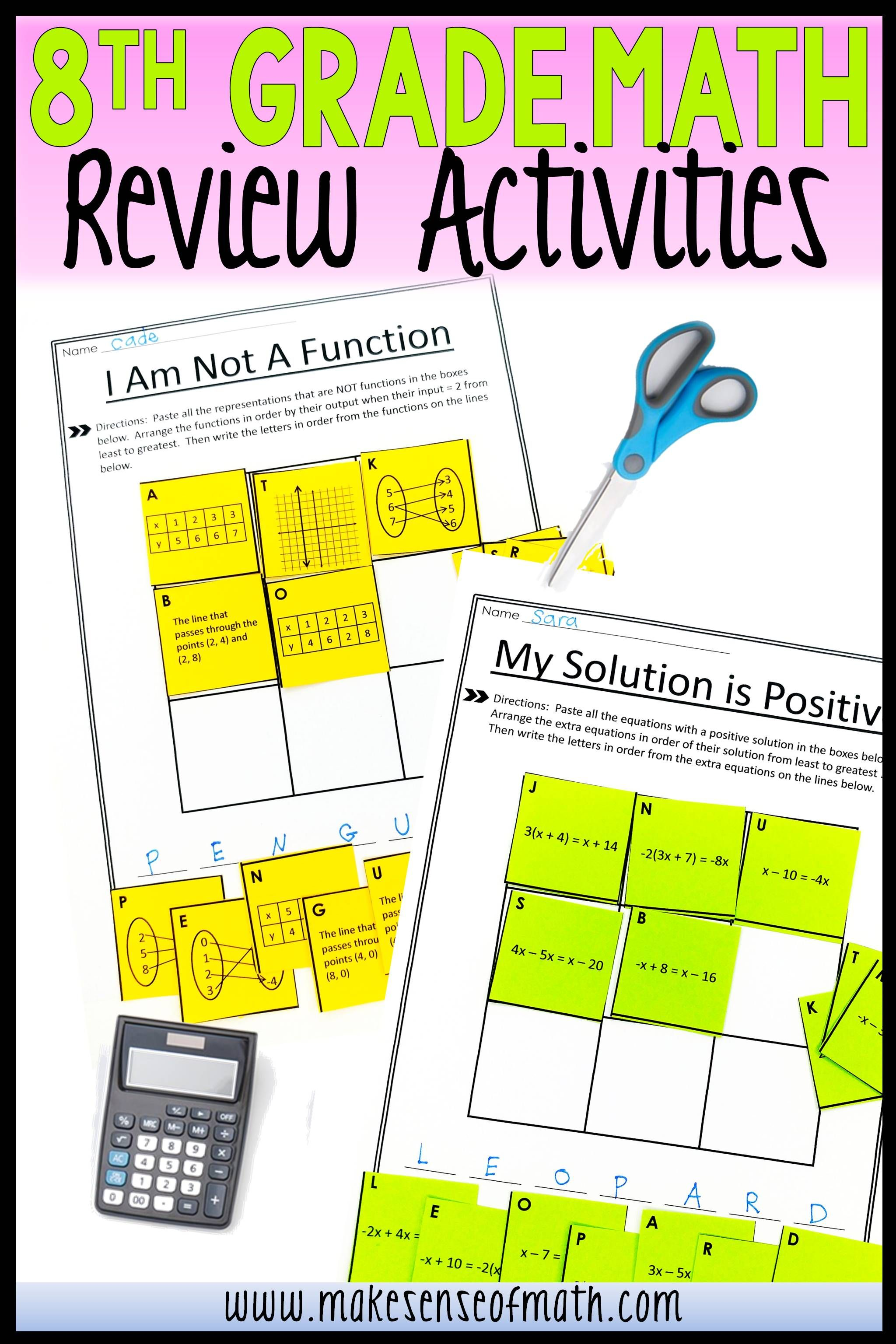 8th Grade Math Review Activities