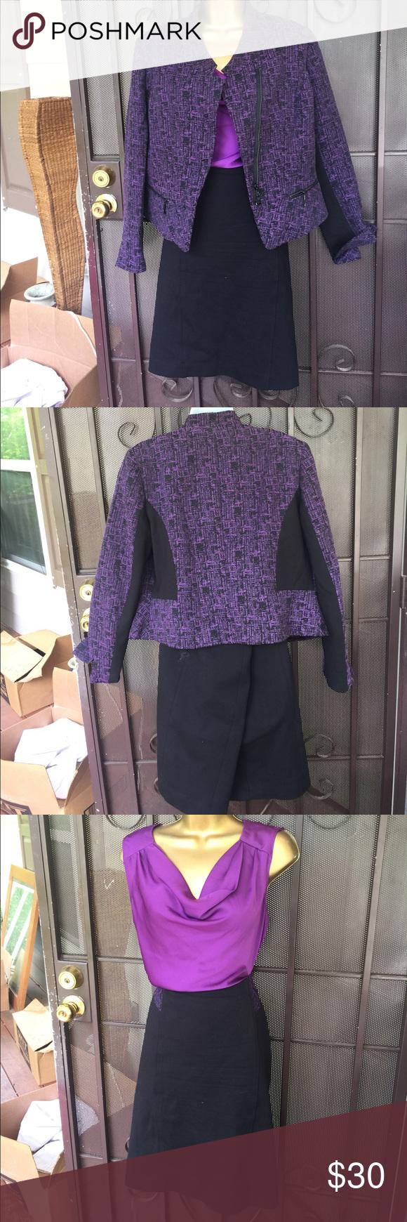 Paneled jacket blazer skirt suit set Blouse size Medium, $14 Skirts Skirt Sets