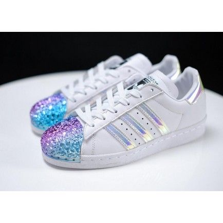 Adidas Superstar Classic White Metallic Hologram Iridescent Black Logo #adidasclothes
