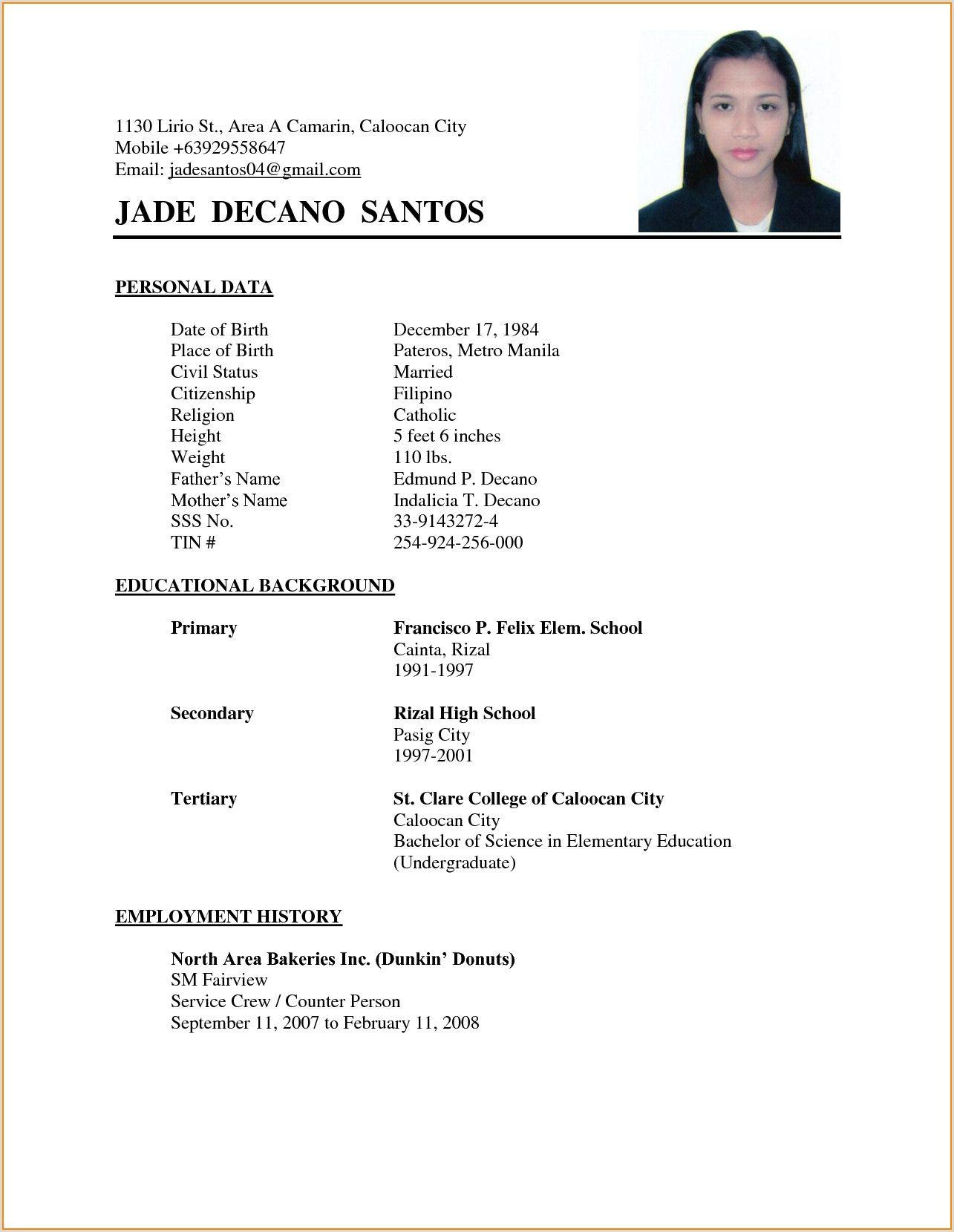 Standard Cv Format In Pakistan Basic Resume Basic Resume Examples Simple Resume Format Simple resume format for job