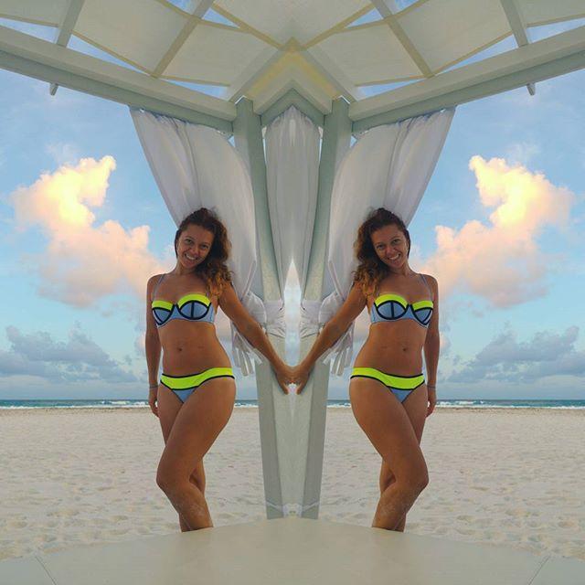 my twin sister :) #cancun #cancunbeach #twins #mexico #swimmingsuit #beach #sky #bluesky #vs #victoriassecret #lovealwayssummer #tan #sand #sea #photooftheday #vacation