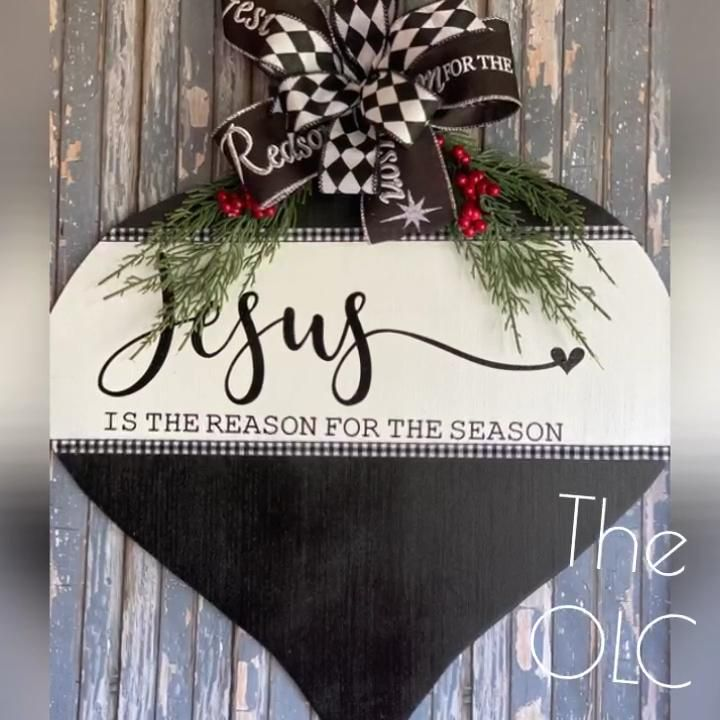 Christmas Door Hanger, Front Door Holiday Decor, Jesus is the Reason for the Season -   19 farmhouse christmas tree decorations diy ideas