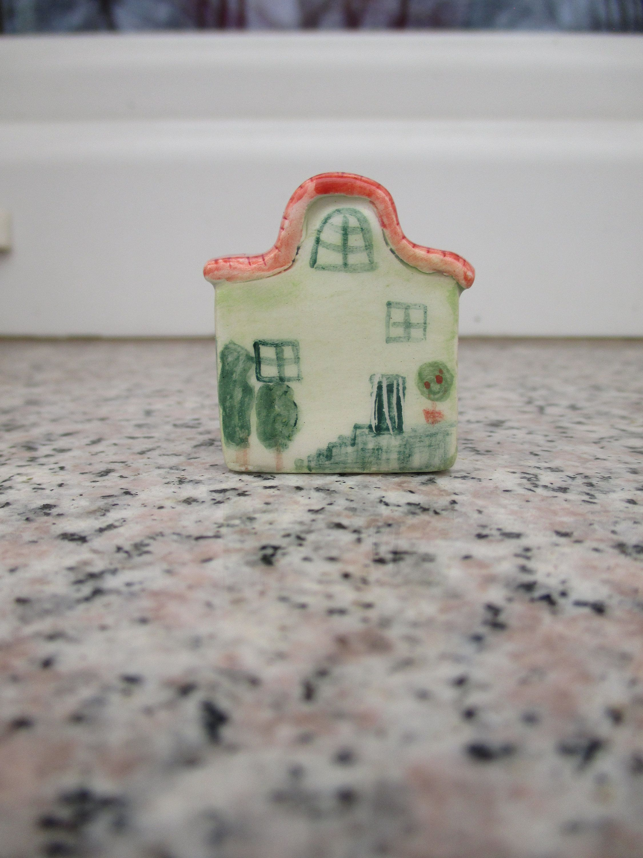 Little Green Ceramic House Small Pottery House Small Green House Miniature House Pottery Small Details Small Village Shellf Decor In 2020 Green Ceramics Pottery Houses Ceramic Houses