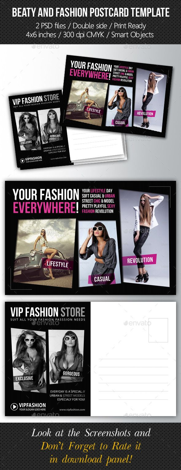 Fashion and Beauty Postcard Template V02