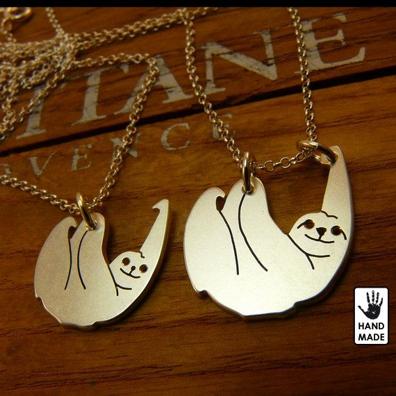 Two SLOTHS - sterling silver necklaces.    Handmade solid sterling silver pendants $55.00