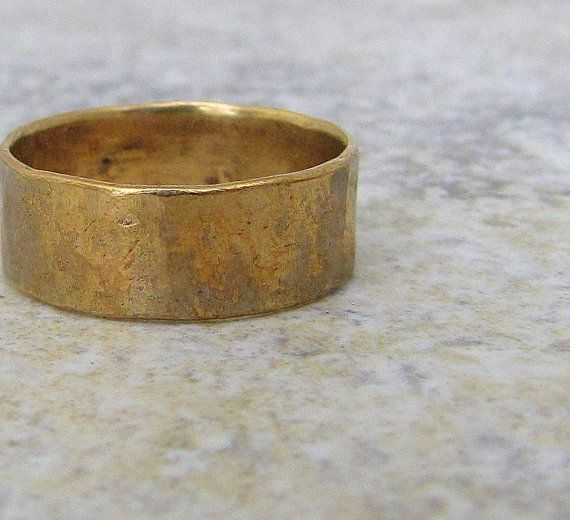 Hammered Brass Band Distressed Wedding Ring Rustic Mens Wedding Band