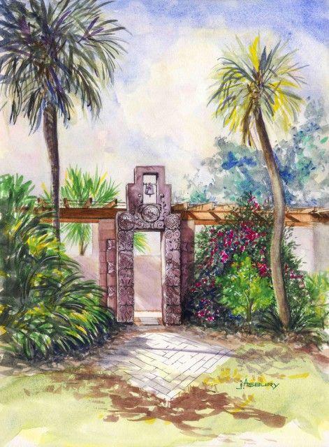 Art Center Gate Watercolor Art Watercolors Samples Watercolor