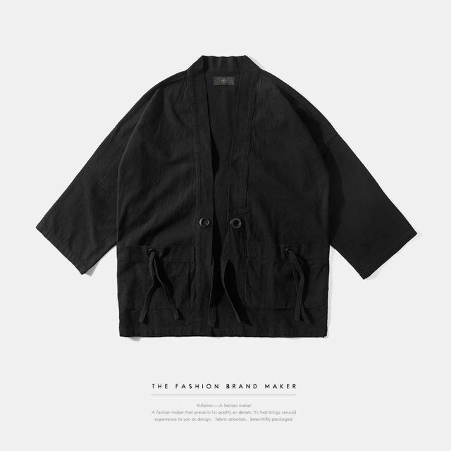 b57302edb New Fashion streetwear mens kimono japanese style shirt Hemp Men shirt