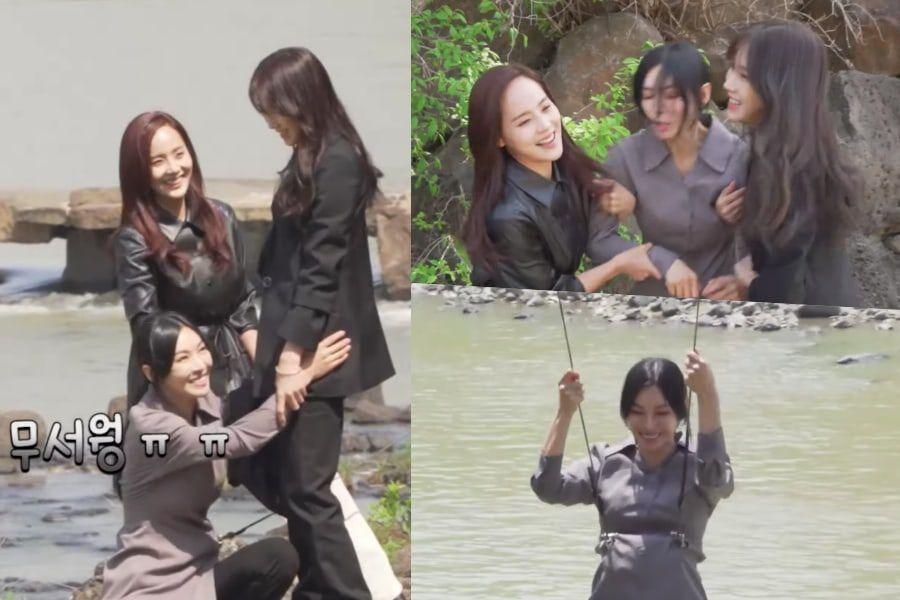 """Watch: Kim So Yeon, Eugene, And Lee Ji Ah Show Off Chemistry And Teamwork In """"The Penthouse 3"""" Outdoor Action Scene"""