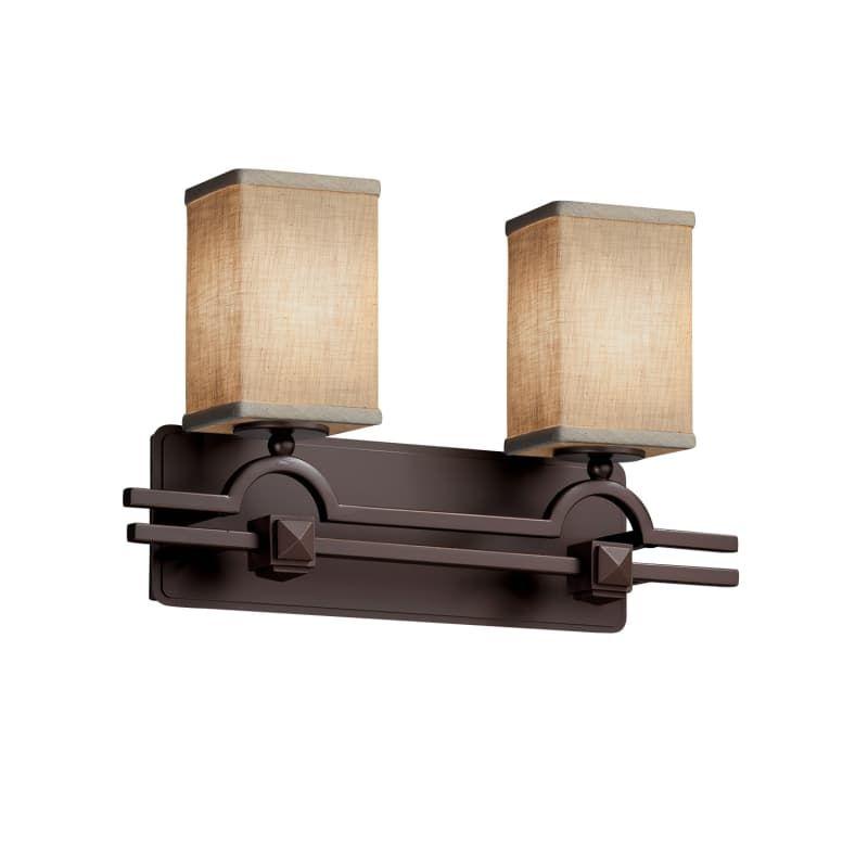 Photo of Justice Design Group FAB-8502-15-CREM-LED2-1400 Textile 19″ Argyle 2 Light LED B Dark Bronze Indoor Lighting Bathroom Fixtures Bath Bar