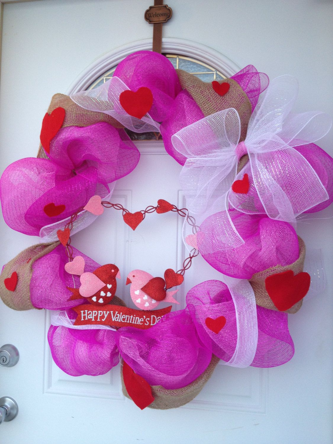 Valentines Day Deco Mesh Wreath By Mommavalencascrafts On Etsy
