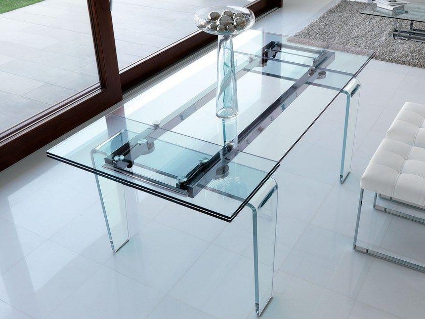 Tavolo Allungabile Moderno Cristallo.Tavolo Allungabile Rettangolare Da Pranzo In Cristallo In Stile
