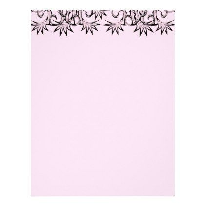 fancy black damask print letterhead