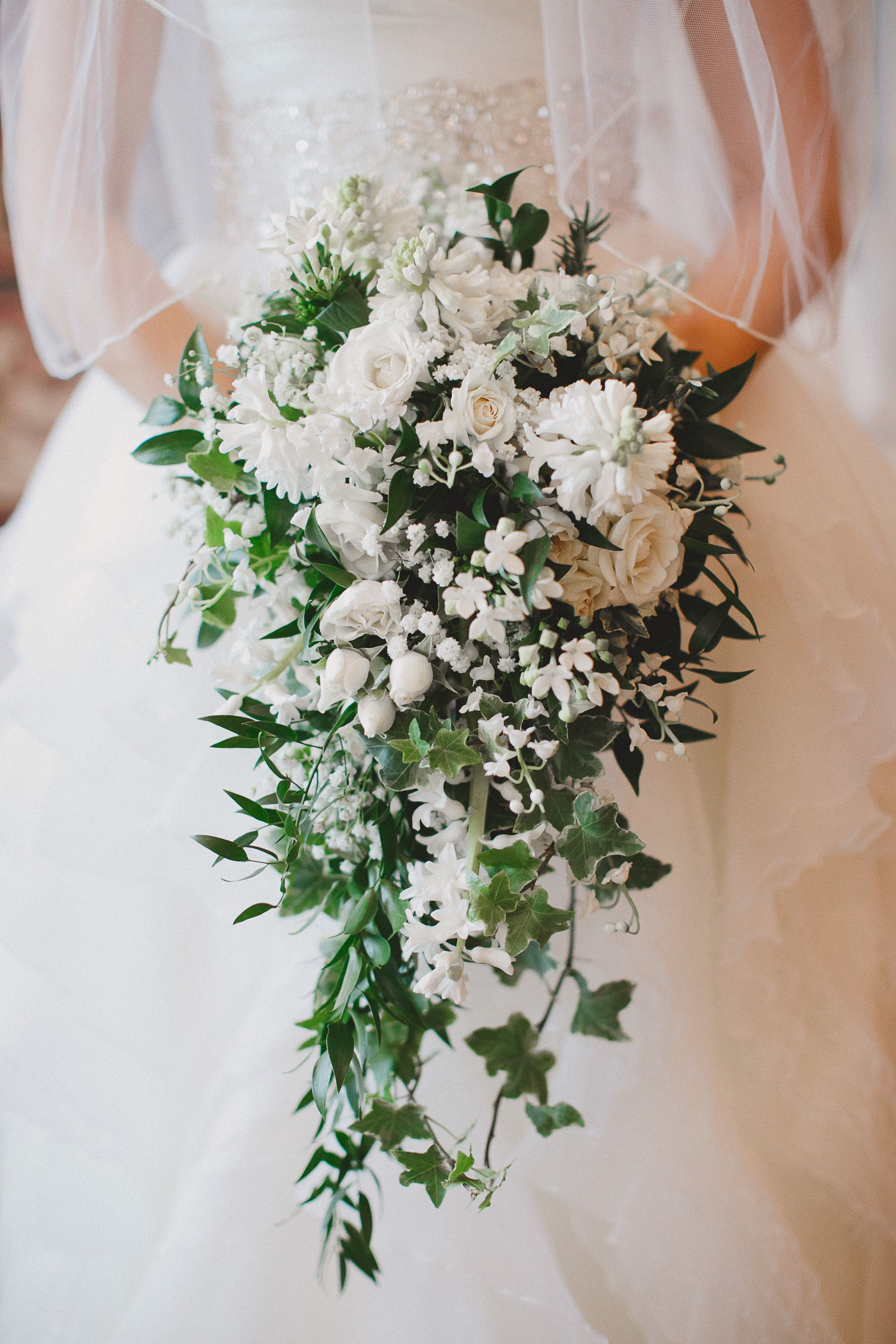 Cascading Bouquet Pictured Bouvardia Lilly Of The Valley Hyacinth Spray Rose Babys Breath Ivy Italian Ruscus By Fache Floral Designs