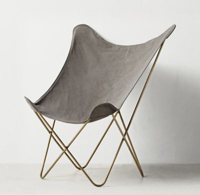 RH TEENu0027s Tye Stonewashed Canvas Butterfly Chair   Light Aged  Brass:Inspired By The 1930s