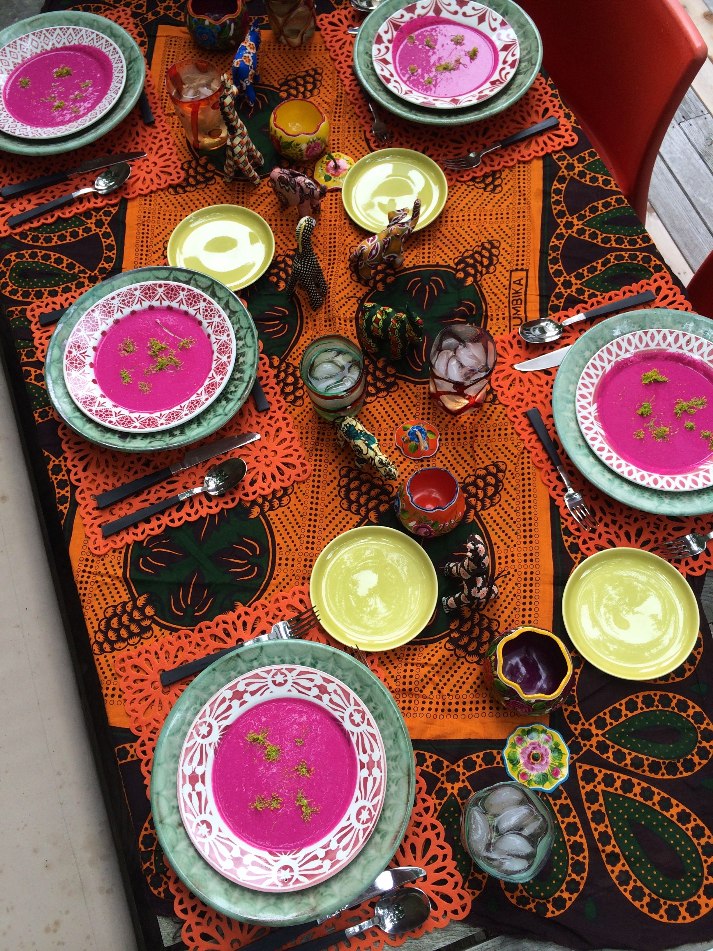 Tablecloth African Pareo- Soup plates Vintage Moroccan- Dinner plates Mexican Talavera & Tablecloth: African Pareo- Soup plates: Vintage Moroccan- Dinner ...