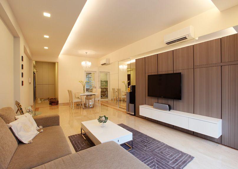 Condo At Bukit Timah Hidden Storage In The Living Room Designed By Habitat One Lookbox Livi Feature Wall Design Tv Feature Wall Condominium Interior Design