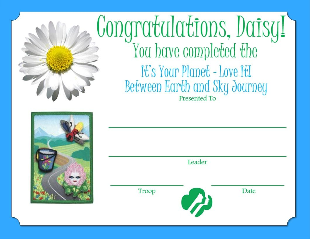 Daisy between earth sky journey certificate daisy girl scouts daisy between earth sky journey certificate dhlflorist Image collections