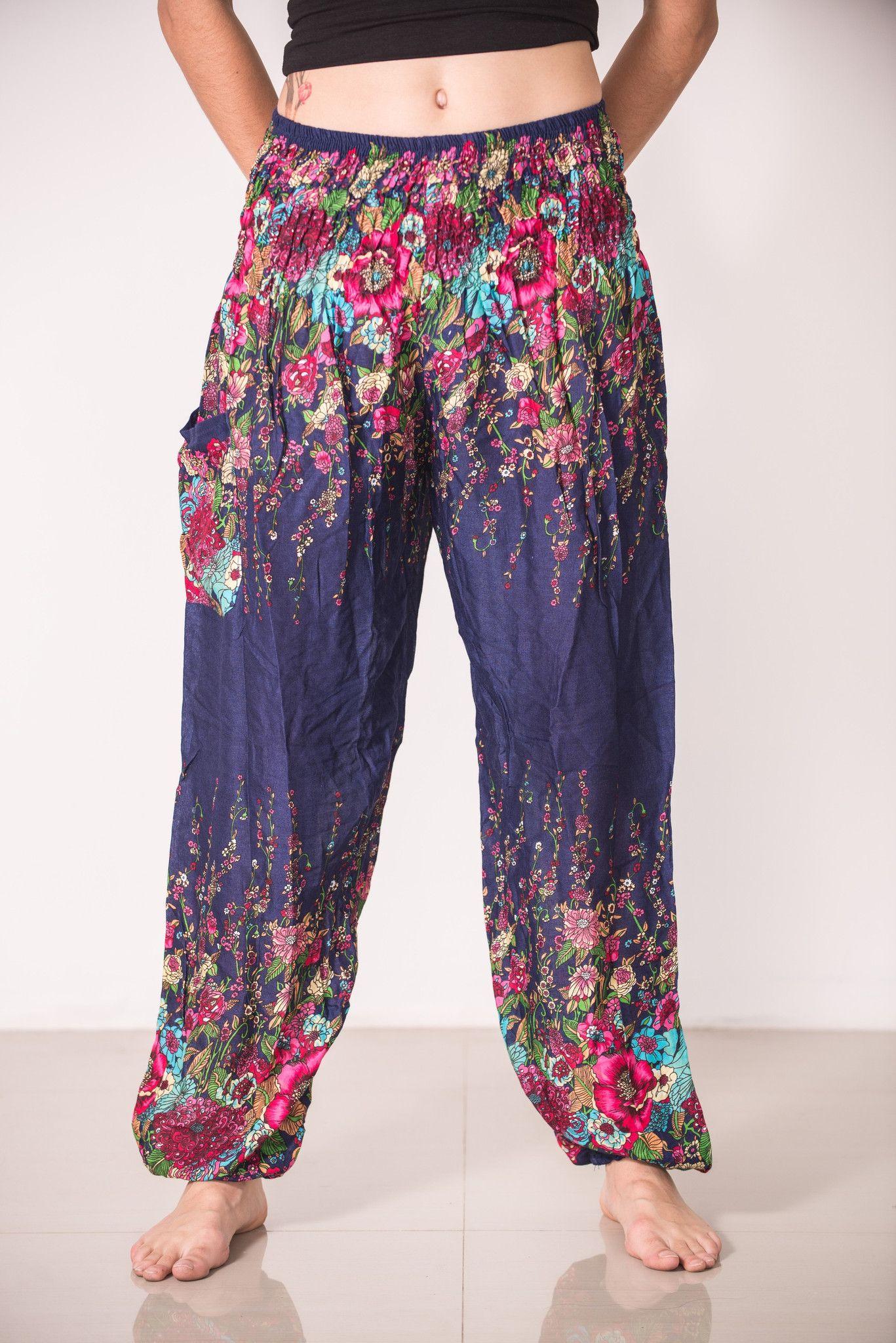 Floral Women\'s Harem Pants in Blue