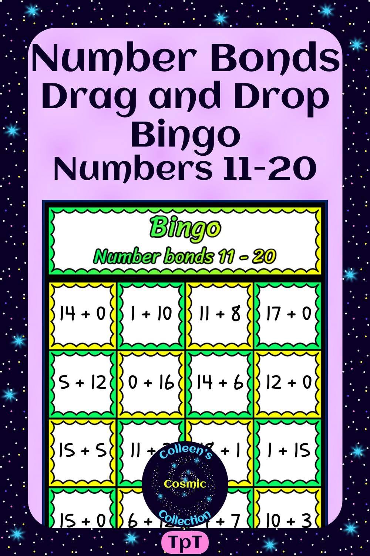 Number Bonds Drag and Drop Bingo for Numbers 1120