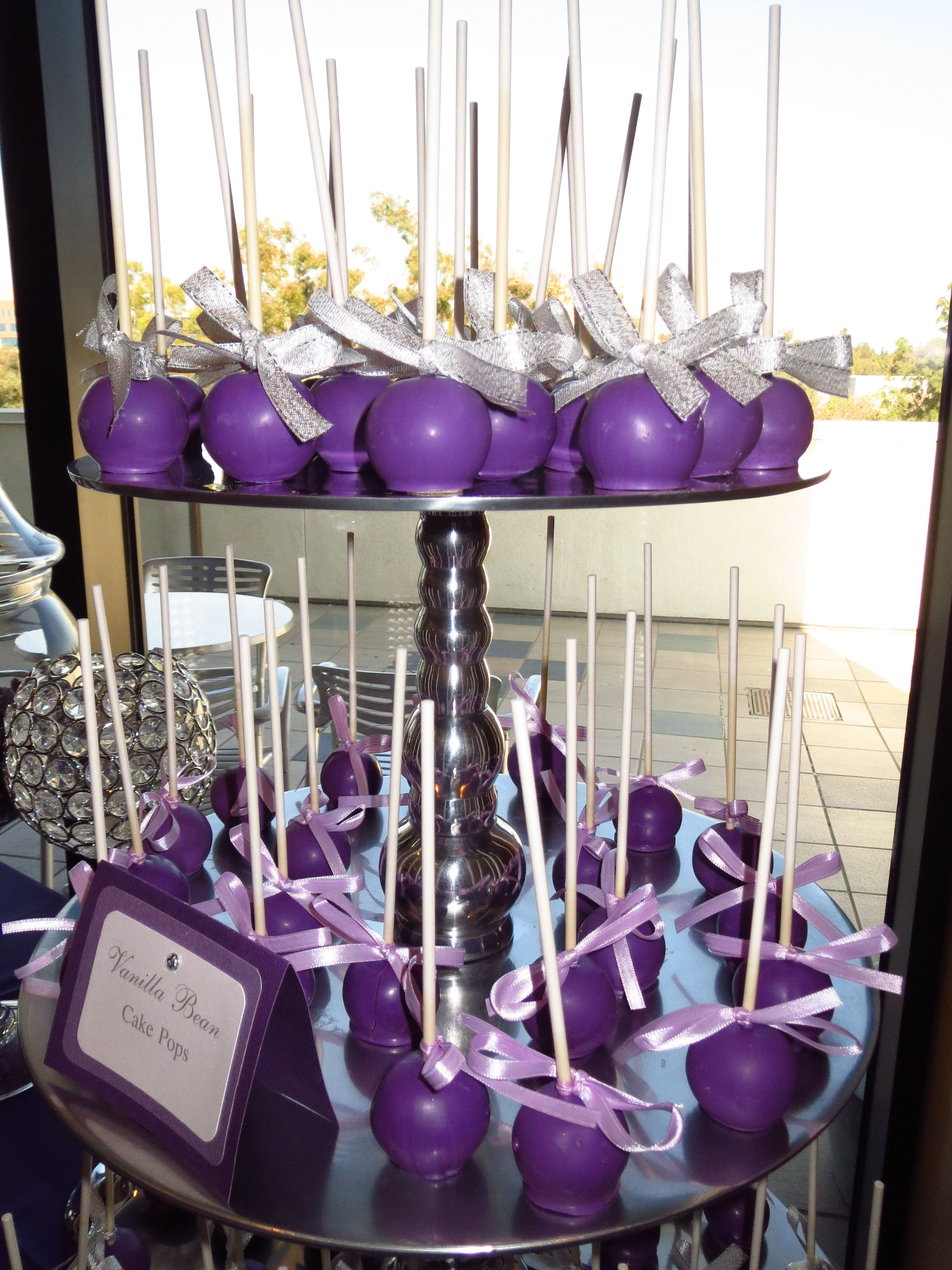 Purple Cake Pops On Silver Cupcake Stand By Oc Sugar Mama