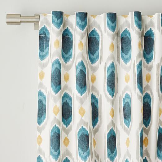 Great Room Curtain Panels Qty 8 Cotton Canvas Ikat Gem Curtain