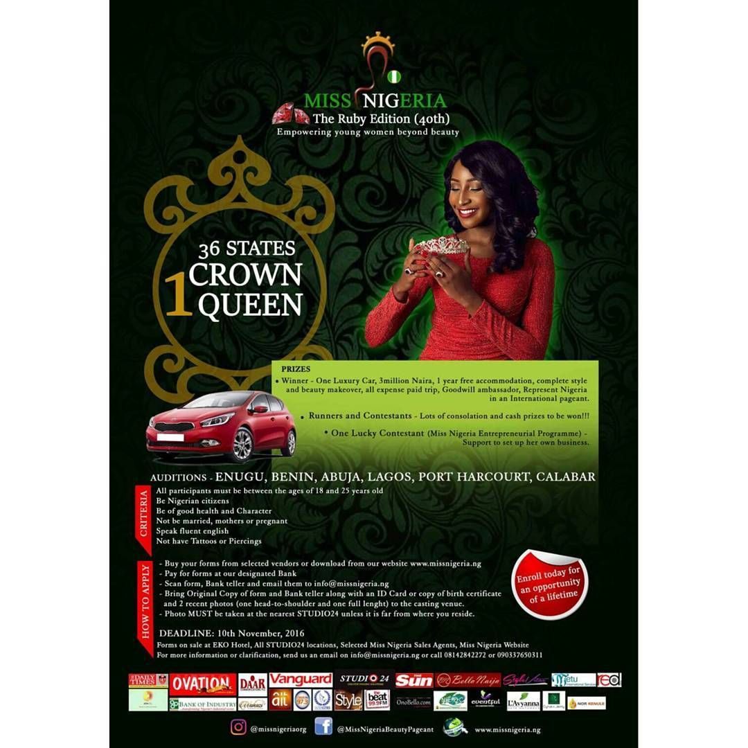 "Apply now for the ""Miss Nigeria"" Ruby Edition deadline"