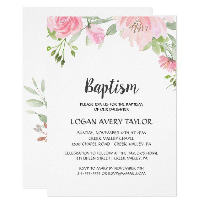 Blush Peonies Baptism Invitation | Zazzle.com