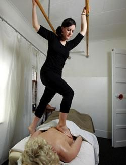 Ashiatsu Massage - one of our graduates! Find more AOBT and Ashi-Thai certified therapists at http://www.deepfeet.com/therapists.htm