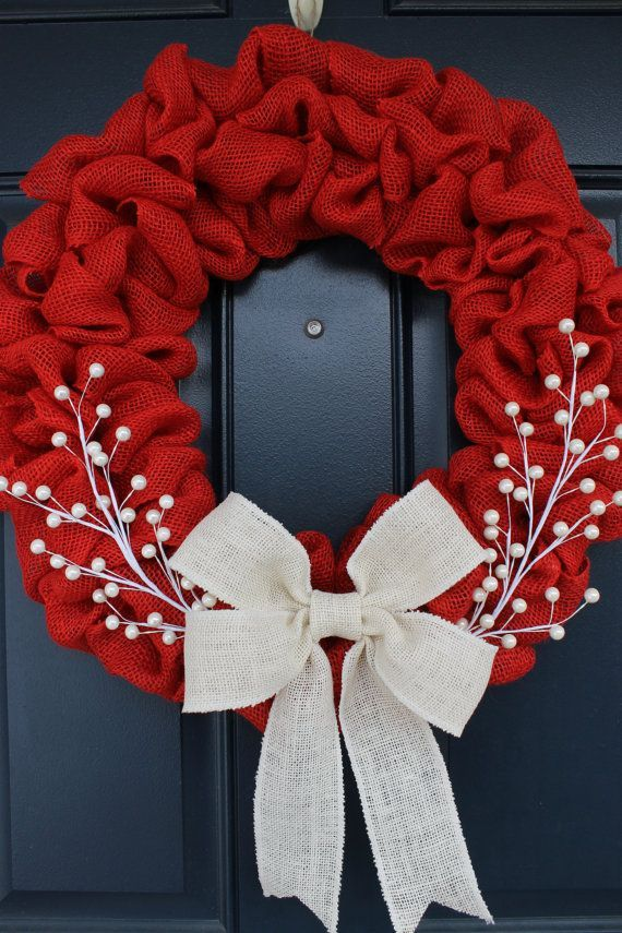 Photo of Red Burlap Wreath, Merry Christmas Wreath, Rustic Wreath, Red and White Wreath, Holiday Wreat…