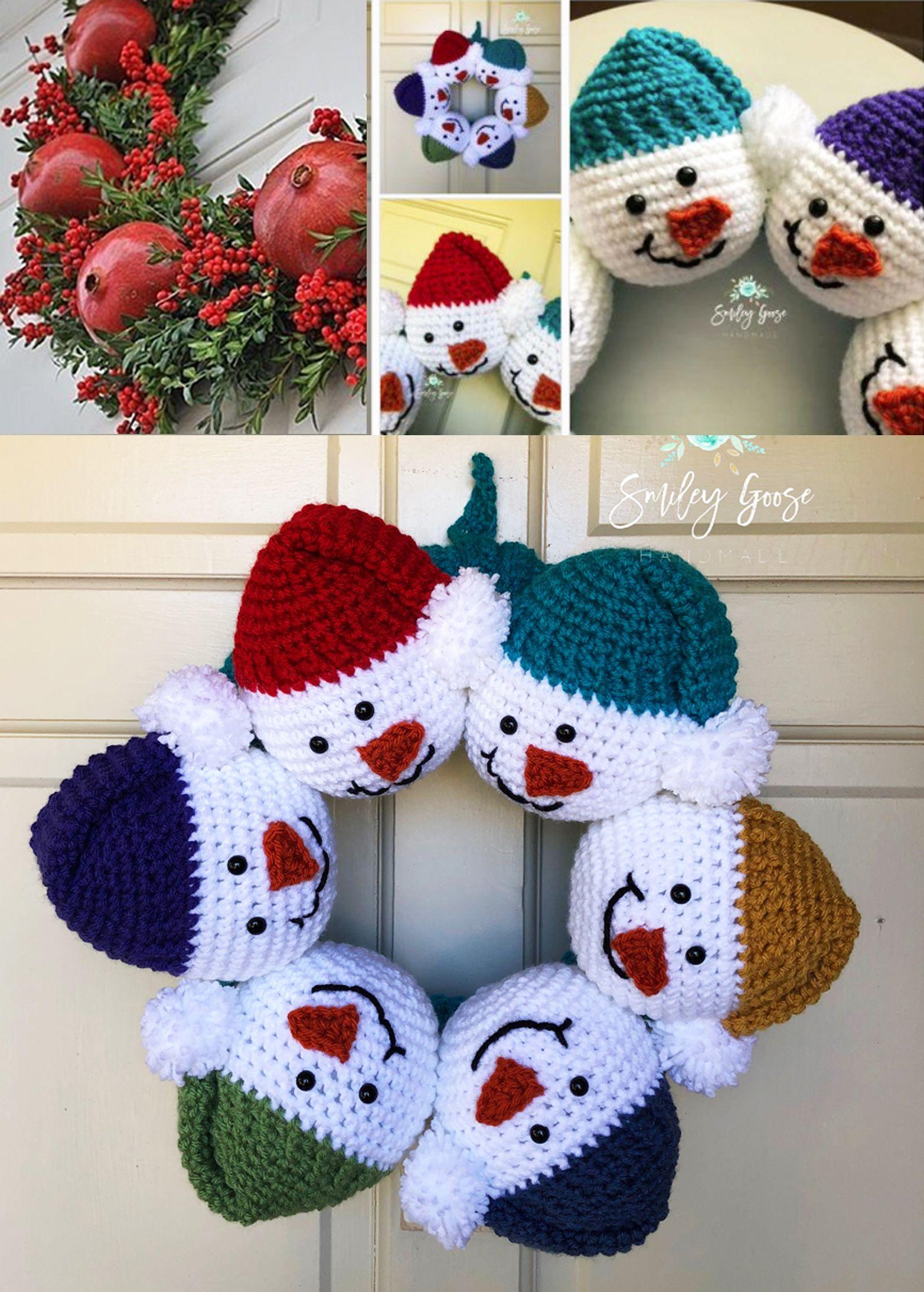 Snowman Christmas Wreath Crochet Magic Crochet Christmas Decorations Crochet Christmas Ornaments Free Christmas Crochet Patterns