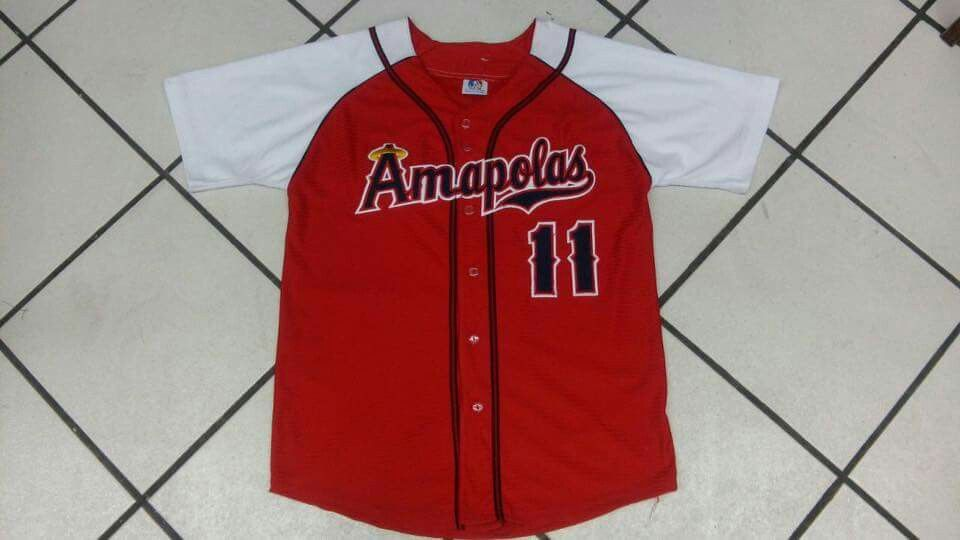 Custom full button jersey - Red & White