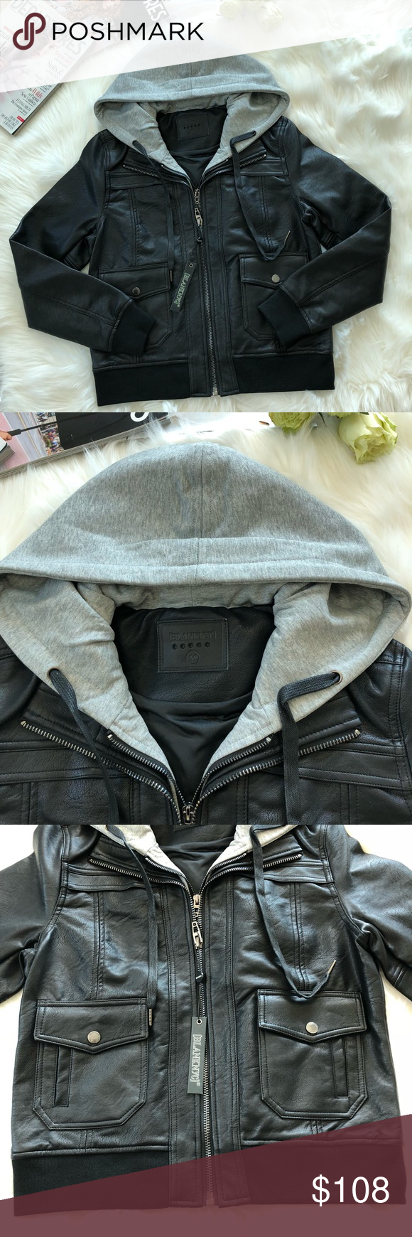 BLANKNYC Faux Leather Jacket with Hoodie NWT Blanknyc