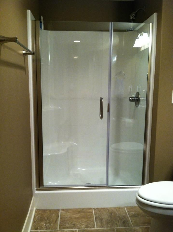 Continuous hinge semi frameless 1 4 shower door with 3 8 panel a good option for the - Fiberglass shower enclosures ...