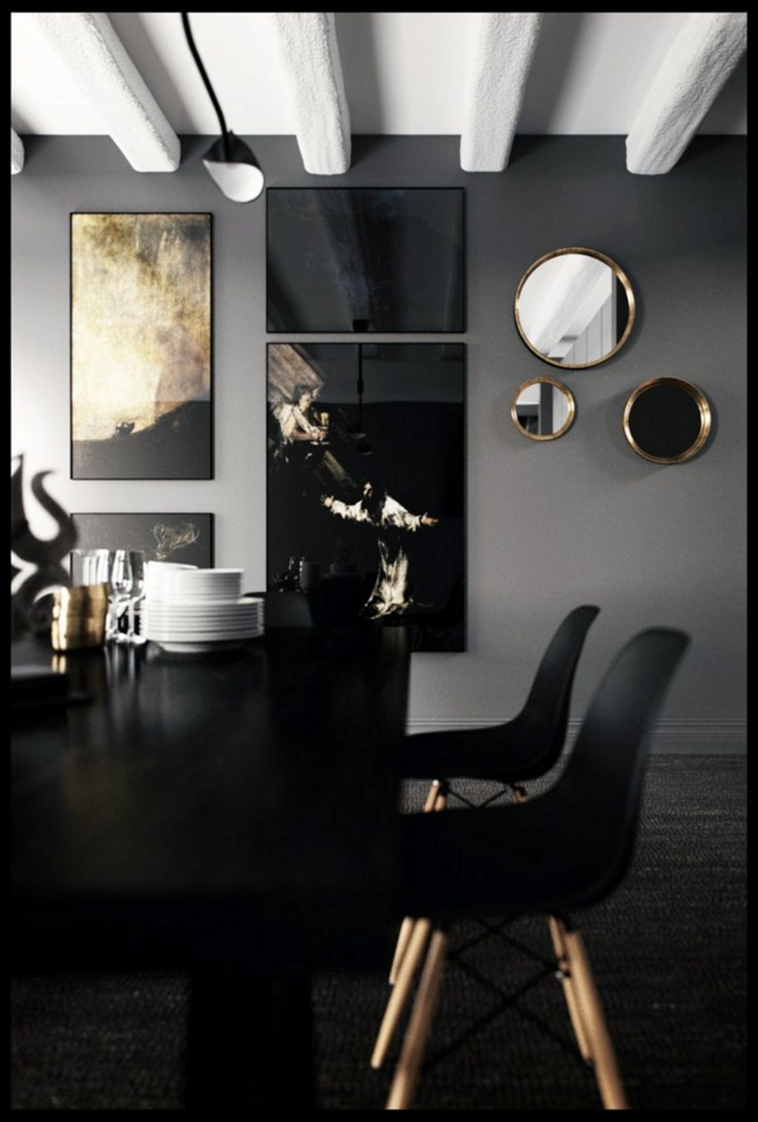 25 Luxurious Black And Gold Dining Room Ideas For Inspiration Gold Dining Room Black Dining Room Contemporary Home Decor