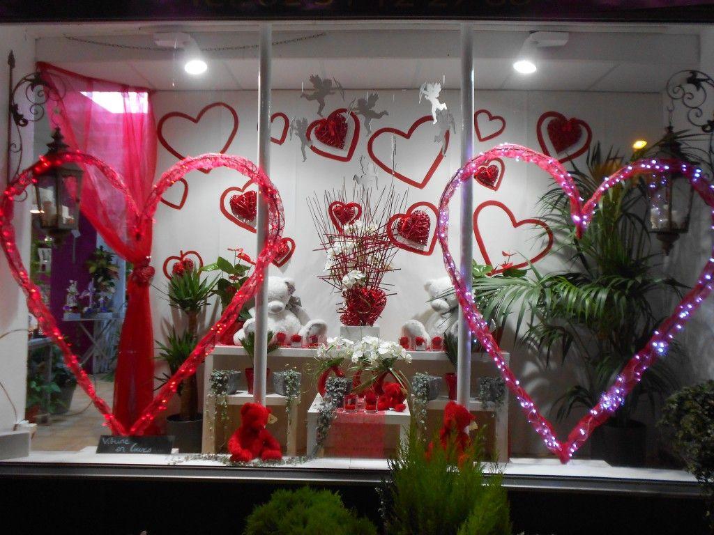Saint Valentin Fleurs Fleuriste Vitrine Saint Valentin