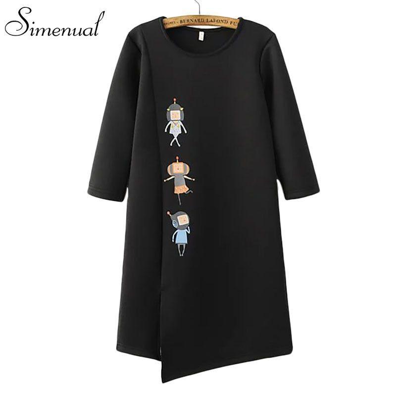 Cartoon cute sweatshirt dress half sleeve split irregular black autumn women dresses 2016 casual new slim ladies dresses sale