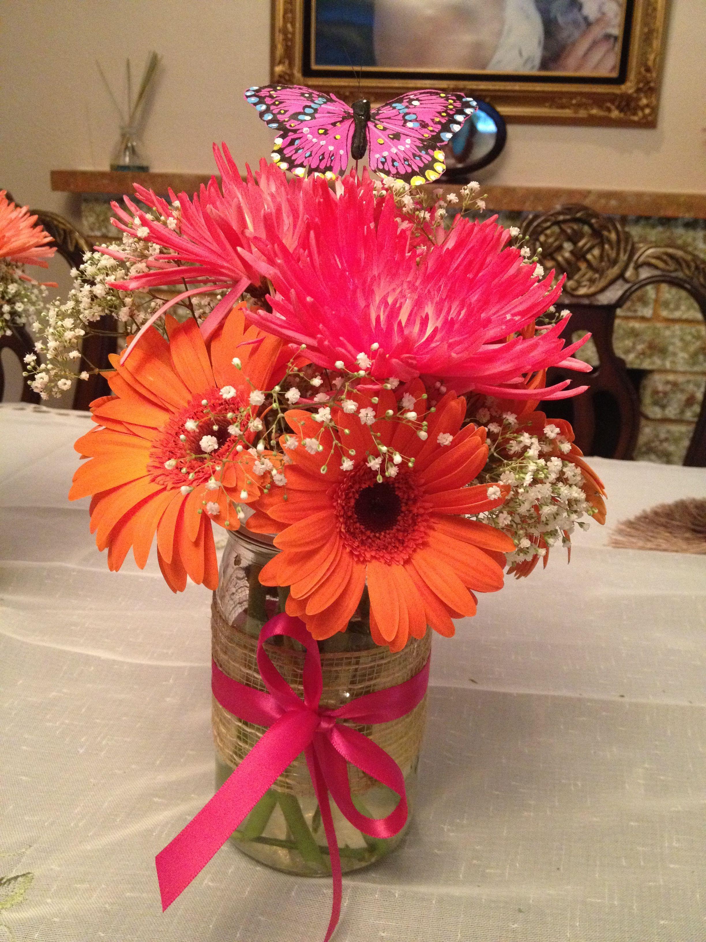 Gerber Daisies And Spider Mums In A Mason Jar Gerber Daisy Wedding Centerpieces Wedding Brunch Reception Mason Jar Flowers