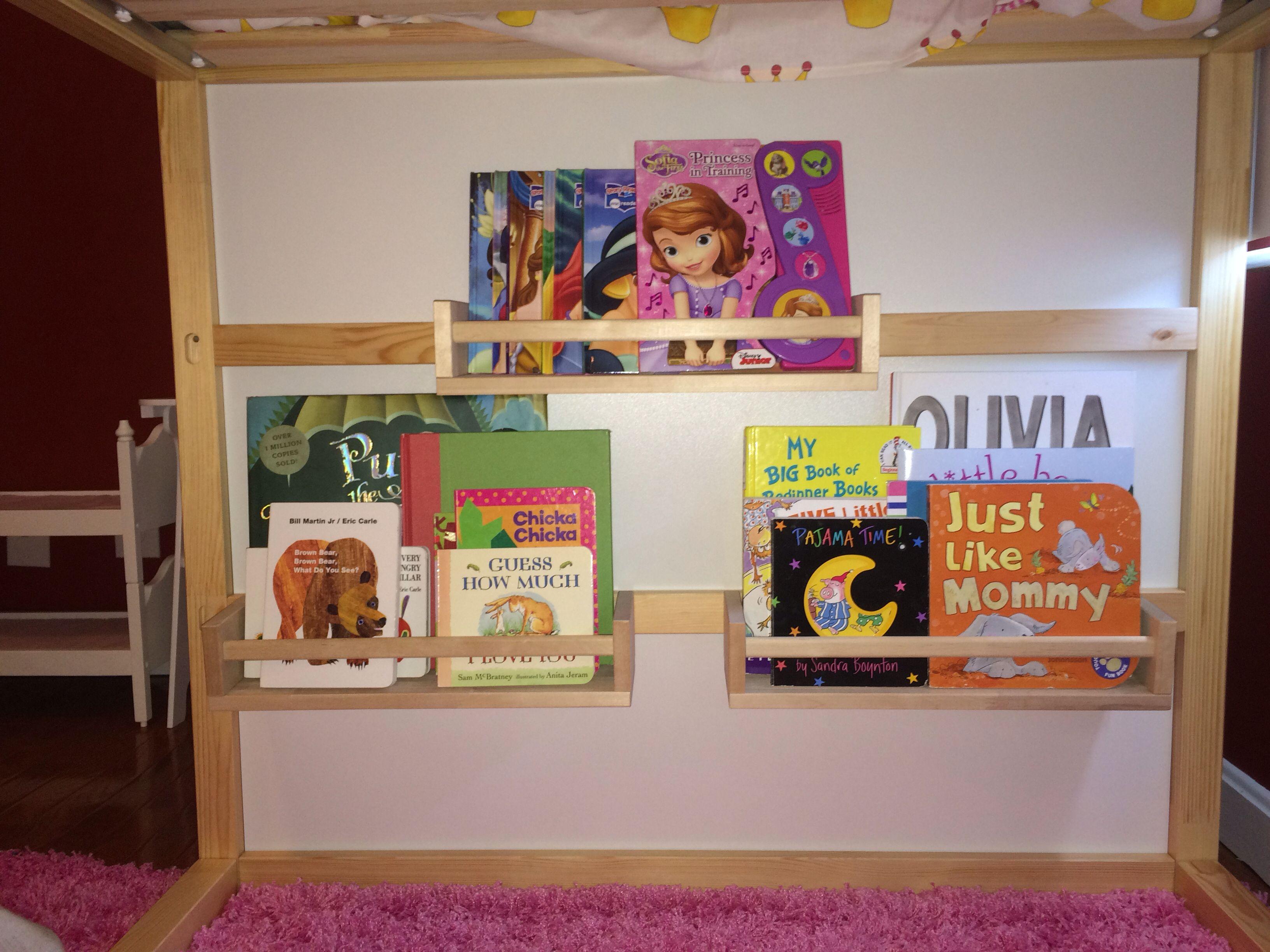 $4 00 spice wracks as book shelves on ikea Kura Bed