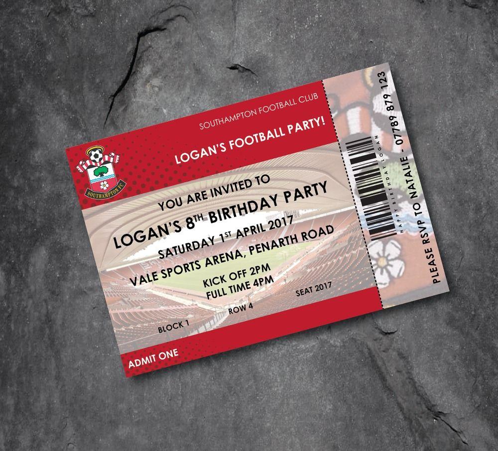 Southampton football club personalised football invitations ticket