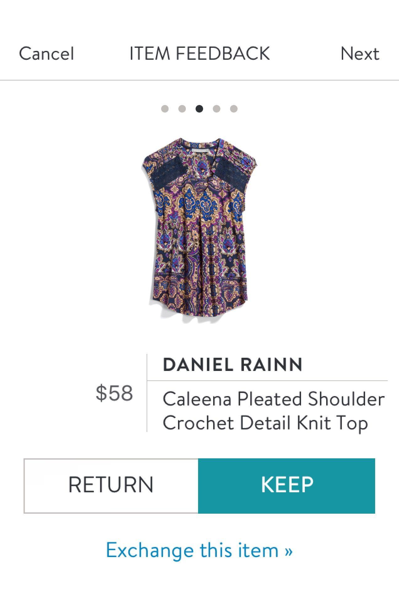 Daniel Rainn Caleena Pleated Shoulder Crochet Detail Knit