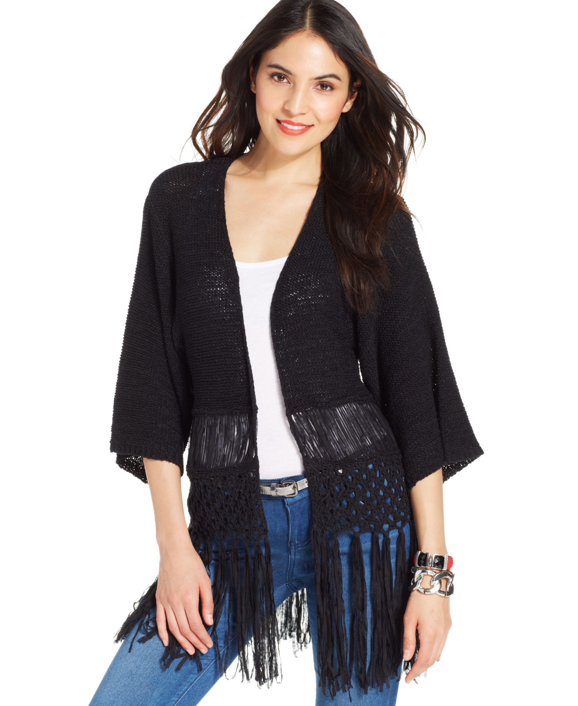 Ny Collection Kimono-Sleeve Fringed Cardigan   Products ...