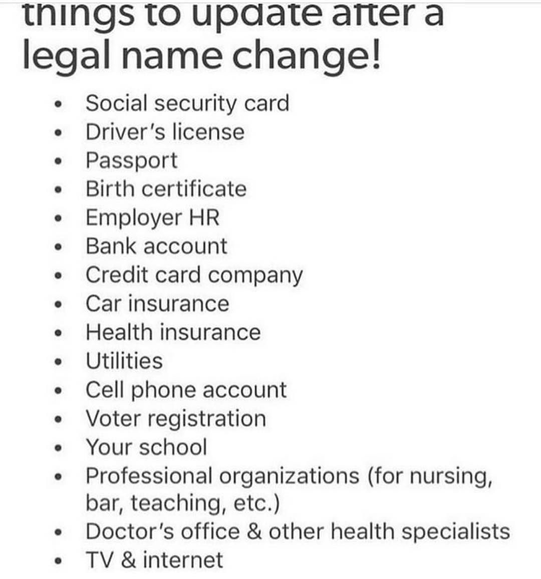 Textpostfeminist On Instagram Helpful Legal Name Change